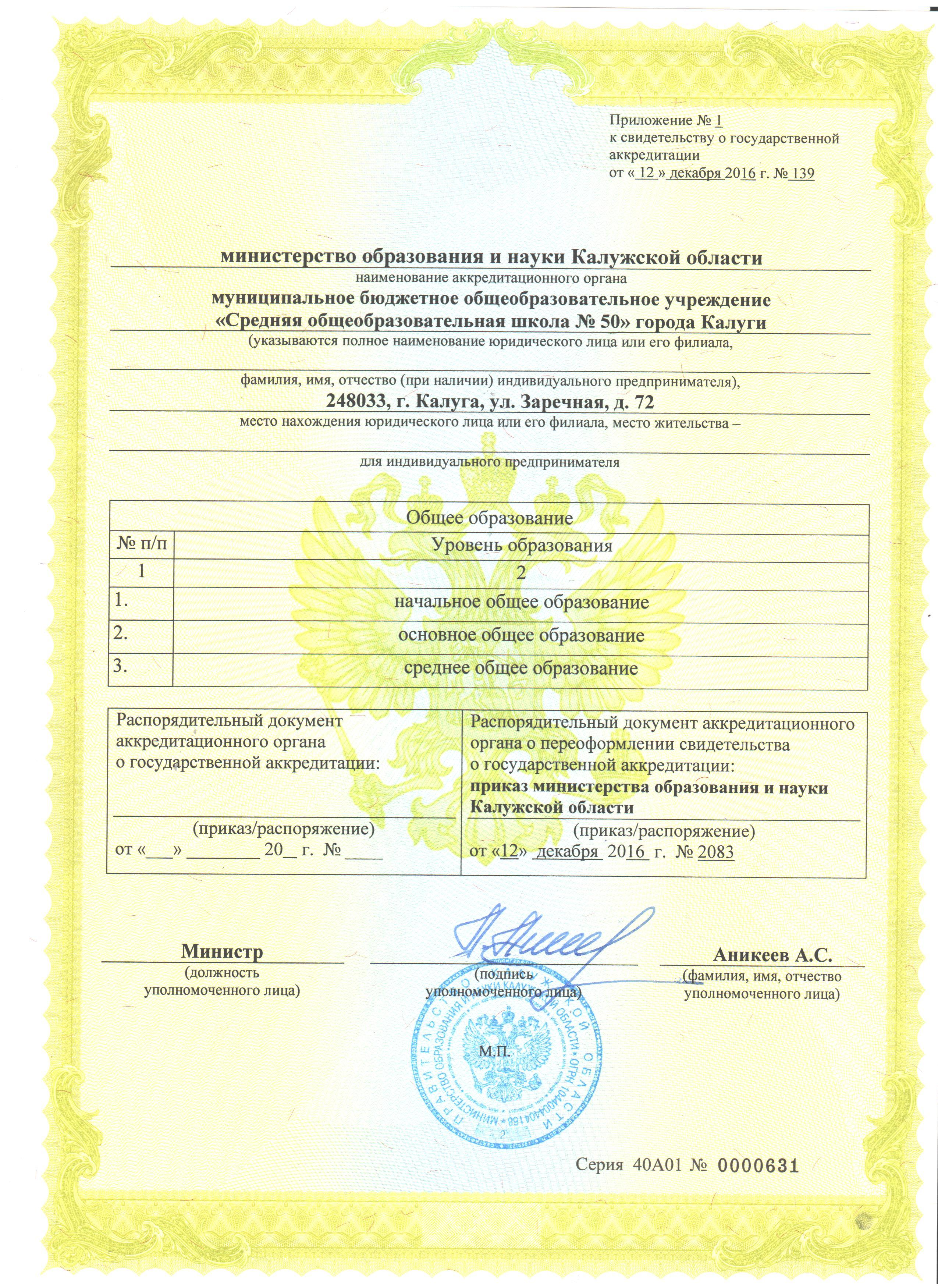 Приложение к свидетельству об аккредитации